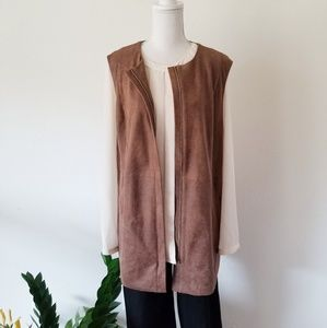 Chico's Brown Edgy Faux-Leather Vest 3 - XL 16